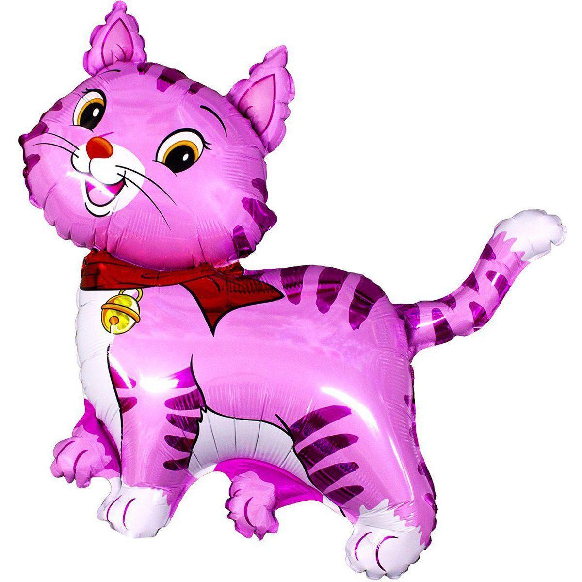 Фольгована кулька велика фігура Кіт рожевий 91х93см Flexmetal