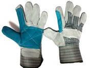 Перчатки замш короткий, серо-синие