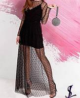 Элегантное платье двойка мини платье и сетка в пол