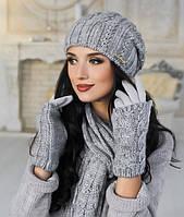 Комплект шапка объемная, перчатки и шарф в 10ти цветах 4153-15