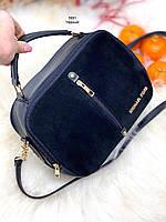 Женская черная замшевая сумка через плечо сумочка небольшая кросс-боди натуральная замша+кожзам
