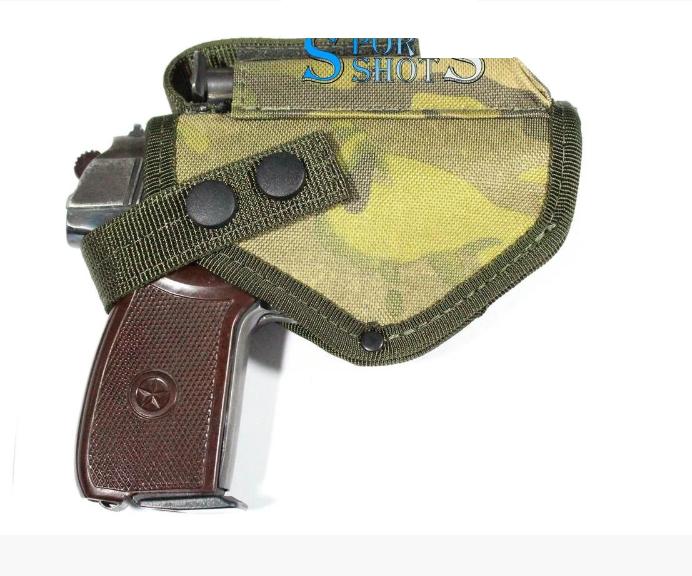 Кобура поясная для пистолета ПМ цвет черный, мулькамуфляж, материал - кордура с чехлом под запасной магазин