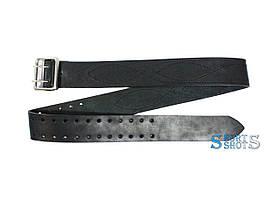 Ремінь поясний портупейний 120 см (шкіра, чорний)