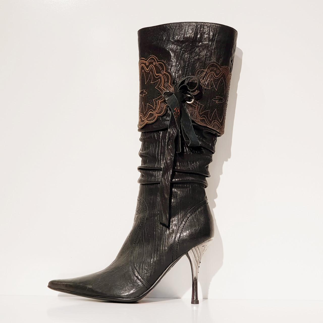 Сапоги женские весна осень из натуральной кожи на каблуке черные 38