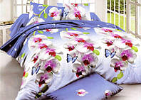 Простынь на полуторную кровать Вилена бязь Голд Орхидея на голубом размер 145х220