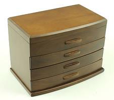 Деревянная шкатулка-органайзер Wooden Collection для украшений, коричневая, 4 уровня, фото 3