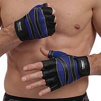 Перчатки для кроссфита и воркаута кожаные SPORT WorkOut BC-1018 размер L-XL черный