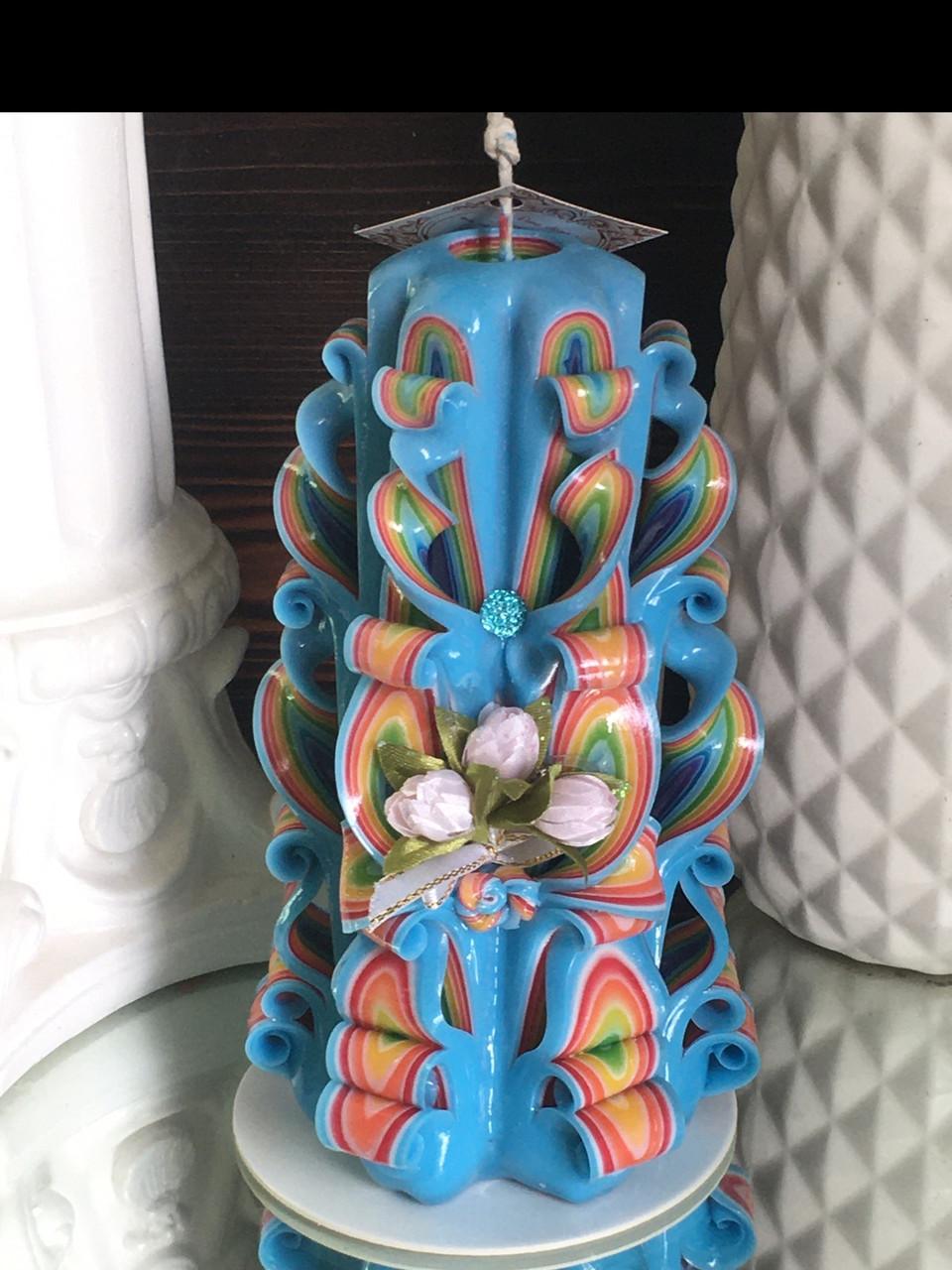 Резная свеча ручной работы, высота 17 см на подарок