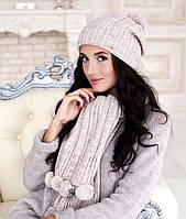 Комплект шапка с бубоном и шарф в 7ми цветах 4155-10