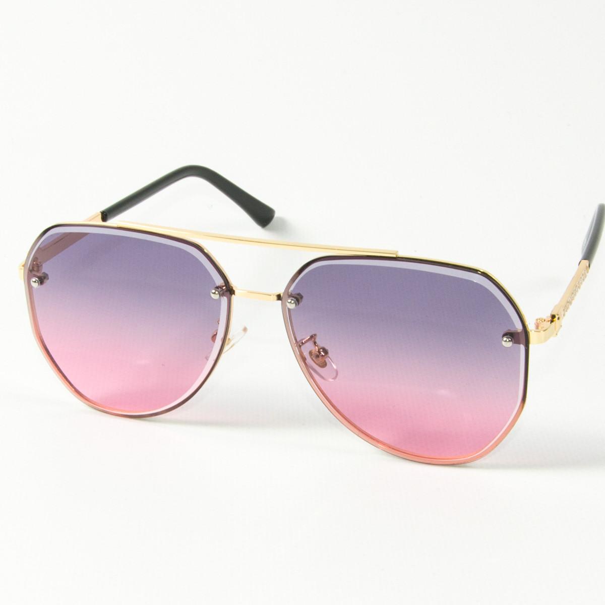 Оптом солнцезащитные очки авиаторы (арт. 3-2489/3) розово-голубые