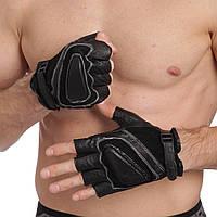 Перчатки для кроссфита и воркаута кожаные SPORT WorkOut BC-161 размер L-XL черный