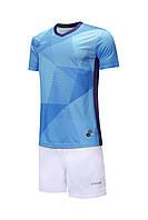 Комплект футбольной формы Europaw 025 голубо-белая