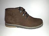 Кожаные мужские коричневые стильные модные удобные зимние ботинки 40р Broni