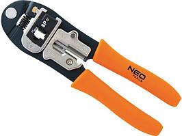 Клещи для обжима телефонных и компьютерных клемм RJ-45,6P,8P и RJ-11/12,6P,8P, NEO Tools, 195 мм (01-501)