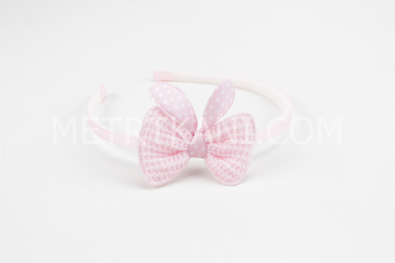 Обруч пластиковый с бантиком, нежно-розового цвета ОД-03