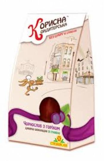 Конфеты Чернослив с орехом в шоколаде Корисна кондитерська, 150 грамм