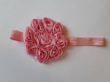 Детская повязка розовая - окружность 42-55см, цветок 8см