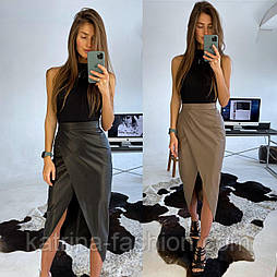 Женская юбка из эко-кожи с запахом (2 цвета)