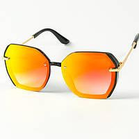 Женские солнцезащитные квадратные зеркальные очки  (арт. 2327/2) оранжевые, фото 1