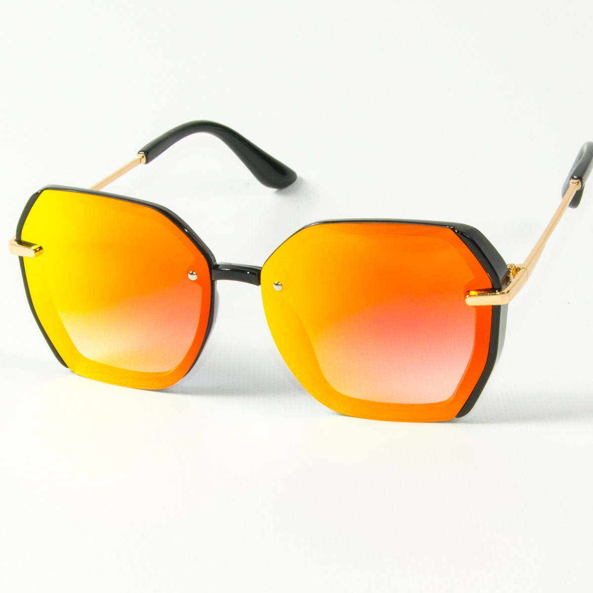 Женские солнцезащитные квадратные зеркальные очки  (арт. 2327/2) оранжевые
