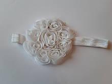 Детская повязка белая - окружность 42-55см, цветок 8см