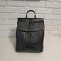 """Кожаный рюкзак-сумка (трансформер) с теснением под рептилию """"Крокодил Bright Gray"""""""