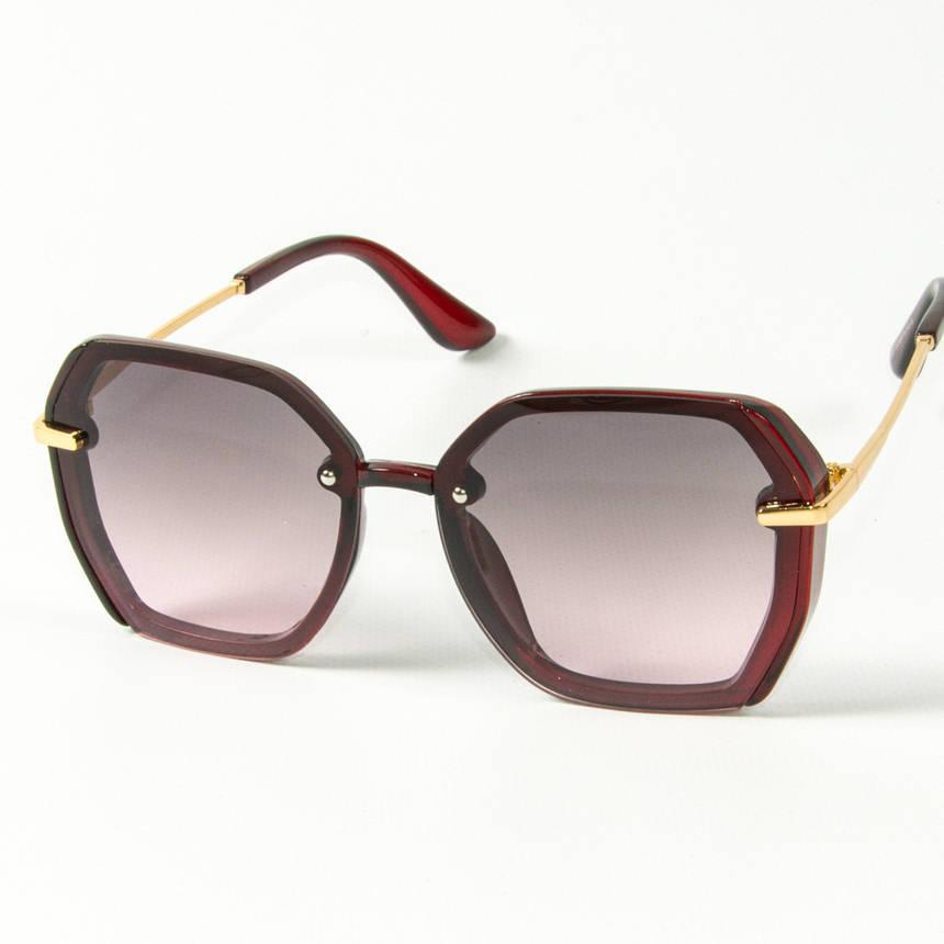 Оптом женские солнцезащитные квадратные очки  (арт. 2327/4) красные, фото 2