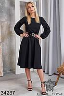 Аккуратное женское платье А-силуэта с длинными рукавами на резинке и поясом в комплекте с 42 по 46 размер, фото 1