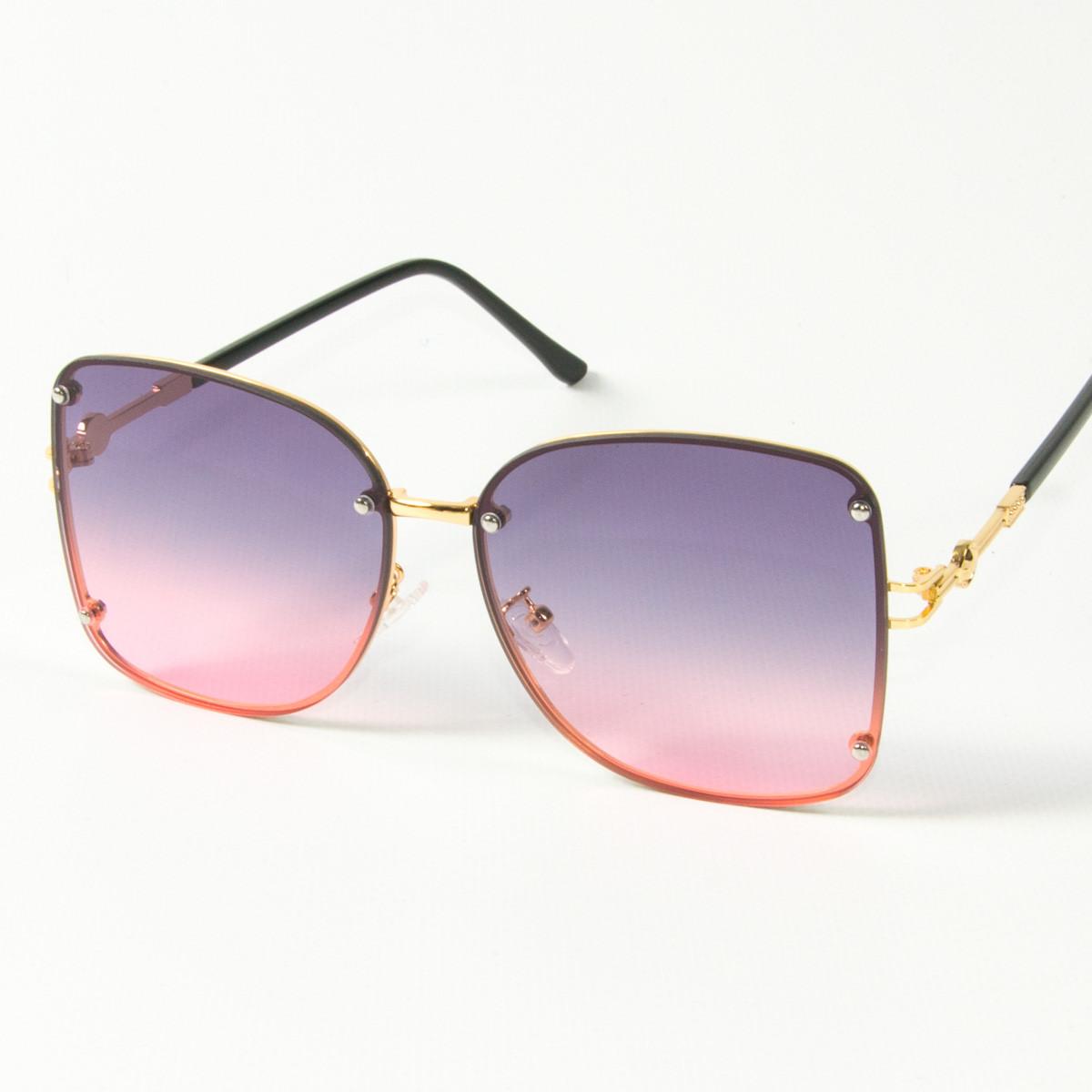 Женские солнцезащитные квадратные очки (арт. 3-2429/1) розово-голубые