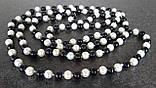 Бусы на шею черно-белые длинные 75см х 0,8см стекло-керамика, фото 2
