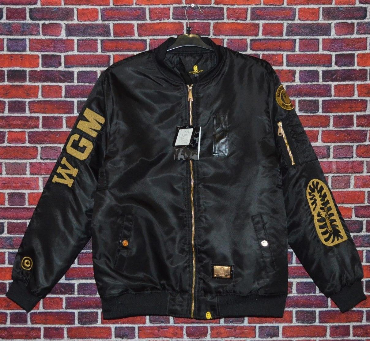 Мужская куртка (весна\осень) - Бомбер Bape Gold Shark черная
