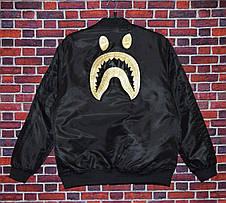 Мужская куртка (весна\осень) - Бомбер Bape Gold Shark черная, фото 2