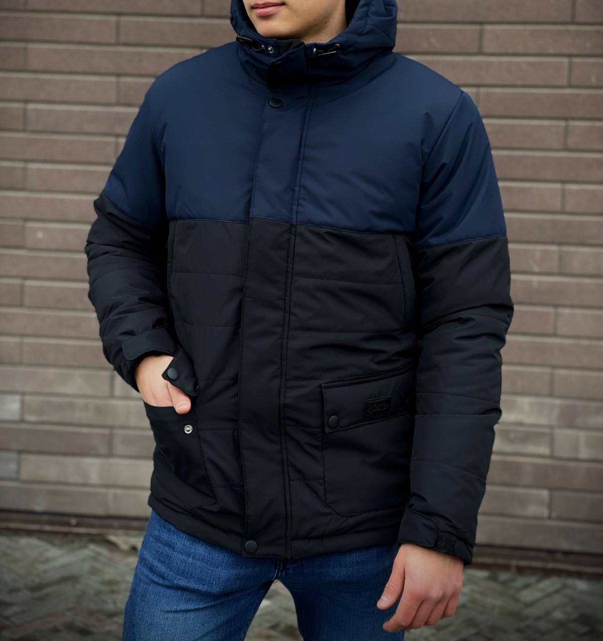 Мужская куртка (весна\осень) -  Intruder 'WaterProof' синяя-черная +ПОДАРОК бафф