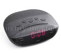 Часы сетевые 908-1 красные, радио FM
