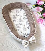 Плюшевый кокон - гнездышко для новорожденных деток Шиншилла капучино, фото 1