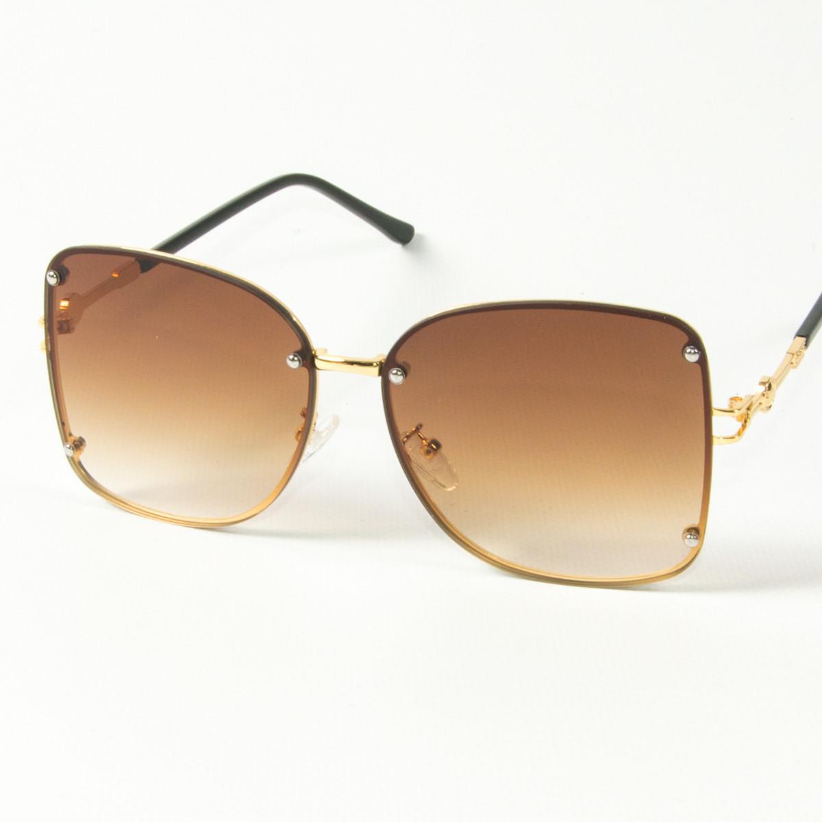 Оптом женские солнцезащитные квадратные очки (арт. 3-2429/2) коричневые