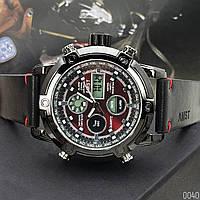 Часы мужские AMST 3022 Black-Red Smooth Wristband AB-1094-0040