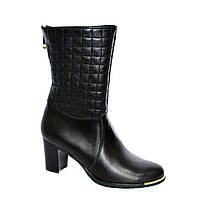 Женские кожаные зимние ботинки на невысоком каблуке, декорированы молнией., фото 1