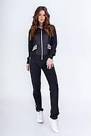 Женский спортивный костюм черный с белым