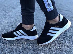 Кроссовки женские черные Adidas Iniki сетка реплика, фото 2