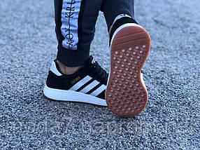 Кроссовки женские черные Adidas Iniki сетка реплика, фото 3
