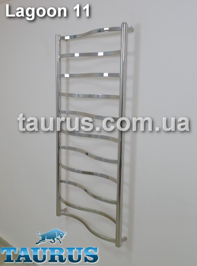 Высокий полотенцесушитель Lagoon 11/1150х450  TAURUS н/ж сталь с волновой перекладиной 20х10. Вода +ТЭН +комби