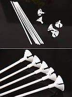 Палочка держатель 10шт для воздушных шаров 50 см белый 1727
