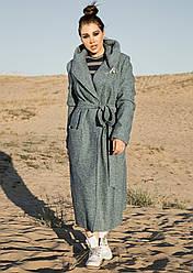 Зеленое пальто оверсайз женское демисезонное осеннее (oversize) шерсть