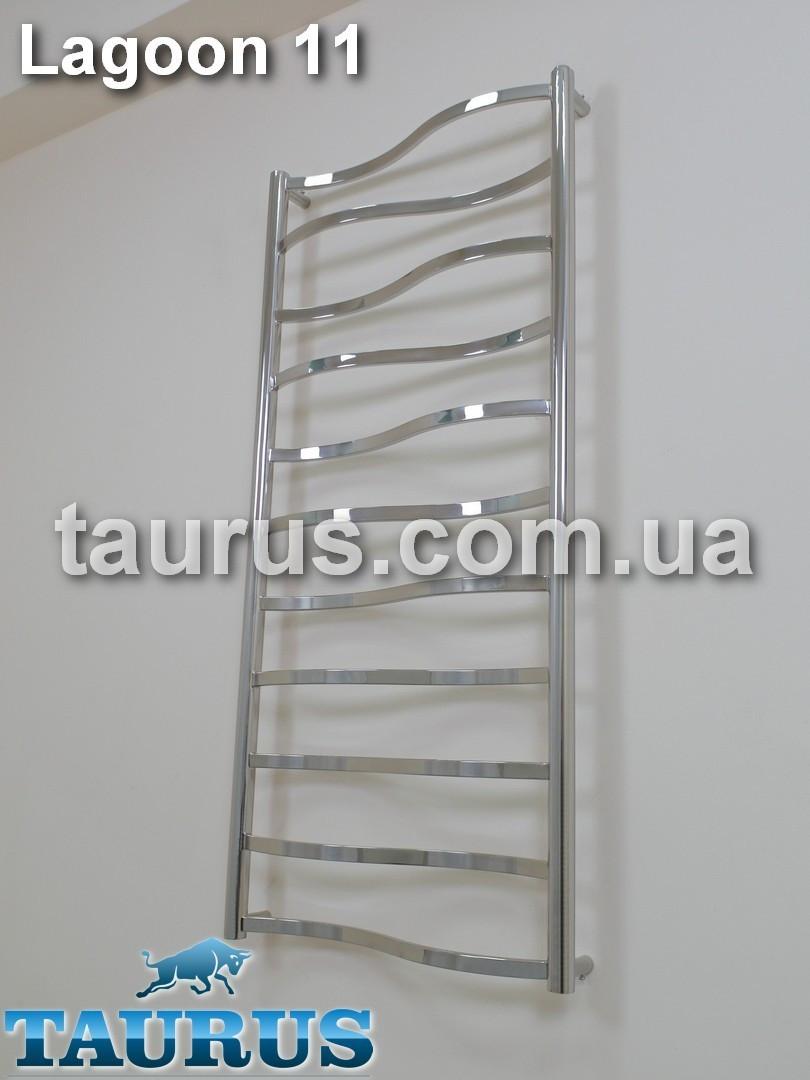 Узкий полотенцесушитель Lagoon 11/ 1150х400 от ТМ TAURUS (Смела, Украина). Перемычка: волна 20х10; Вода+гибрид
