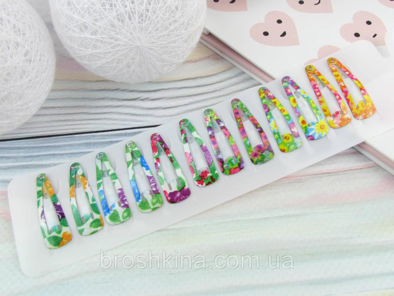 Детские заколки тик-так 3 см цветочки 12 шт. на ленте