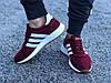 Кроссовки женские бордовые Adidas Iniki сетка реплика, фото 3