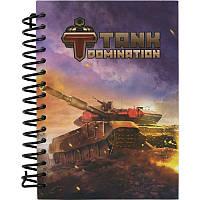 Блокнот с картонной обложкой на спирали Tanks Domination Kite, 80 листов, А6