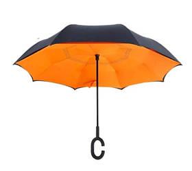 Ветрозащитный умный смарт зонт обратного сложения UP-brella антизонт (Оранжевый)