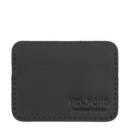 Картхолдер кожаный ручной работы черный HELFORD Кроул blk (1134113054), фото 2